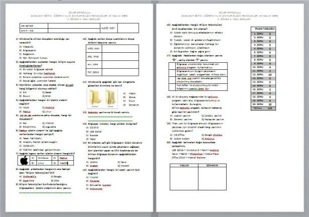 6. sınıf yazılı sınav