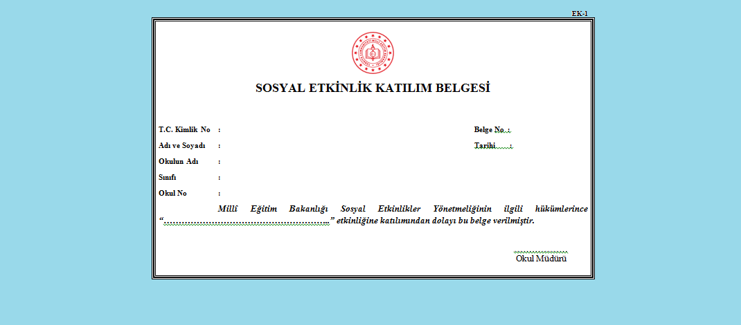 sosyal etkinlik katılım belgesi örneği
