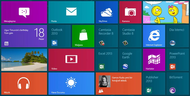 windows 8 arayüzü